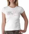 Breast Cancer Ladies T-shirt Crewneck I Wear Pink For My Cousin White