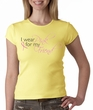 Breast Cancer Ladies T-shirt Crewneck I Wear Pink For My Friend Yellow