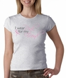 Breast Cancer Ladies T-shirt Crewneck - Pink For My Friend Grey Tee