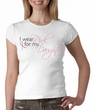 Breast Cancer Ladies T-shirt Pink For My Daughter White Crewneck Shirt