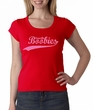 Breast Cancer Ladies T-shirt Scoop Neck Save The Boobies Red Tee