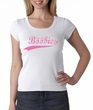 Breast Cancer Ladies T-shirt Scoop Neck Save The Boobies White Tee