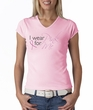 Breast Cancer Ladies T-shirt - V-neck I Wear Pink For Me Pink Tee