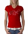 Breast Cancer Ladies T-shirt - V-neck I Wear Pink For Me Red Tee