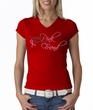 Breast Cancer Ladies T-shirt V-neck I Wear Pink For My Friend Red Tee