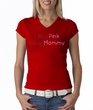 Breast Cancer Ladies T-shirt V-neck I Wear Pink For My Mommy Red Tee