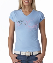 Breast Cancer Ladies T-shirt V-neck Pink For My Daughter Baby Blue Tee