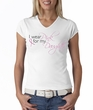 Breast Cancer Ladies T-shirt V-neck Pink For My Daughter White Shirt