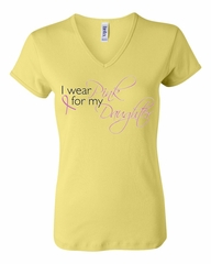 Breast Cancer Ladies T-shirt V-neck Pink For My Daughter Yellow Tee