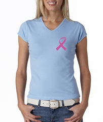 Breast Cancer Ladies T-shirt V-neck Pink Ribbon Pocket Print Baby Blue