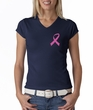 Breast Cancer Ladies T-shirt V-neck Pink Ribbon Pocket Print Navy
