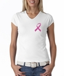 Breast Cancer Ladies T-shirt V-neck Pink Ribbon Pocket Print White