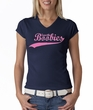 Breast Cancer Ladies T-shirt V-neck Save The Boobies Navy Tee
