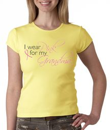Breast Cancer Ladies T-shirts Crewneck I Wear Pink For My Grandma