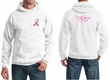 Breast Cancer Mens Hoodie Pink Ribbon Wings Front & Back Print Hoody