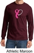 Breast Cancer Mens Shirt Ribbon Heart Long Sleeve Tee T-Shirt