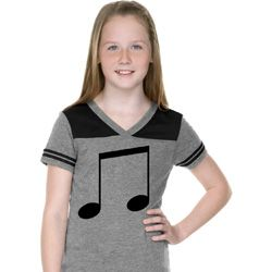 Music 8th Note Girls Football Shirt