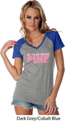 Breast Cancer My Team Wears Pink Ladies Contrast V-Neck Shirt
