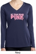 Breast Cancer My Team Wears Pink Ladies Dry Wicking Long Sleeve Shirt