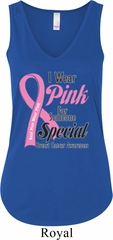 Breast Cancer Pink For Someone Special Ladies Flowy V-neck Tanktop