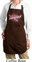 Breast Cancer Survivor Wings Ladies Full Length Apron with Pockets