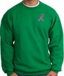Breast Cancer Sweatshirt Pink Ribbon Pocket Print Kelly Green
