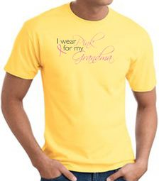 Breast Cancer T-shirt I Wear Pink For My Grandma Yellow Tee