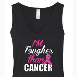 Breast Cancer Tanktop Tougher Than Cancer Flowy V-neck Tank Top