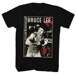 Bruce Lee Shirt Flexing Black T-Shirt