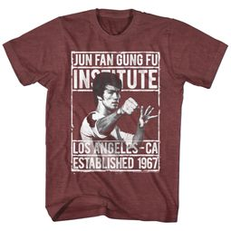 Bruce Lee Shirt Jun Fan Gung Fu Institute Heather Maroon T-Shirt