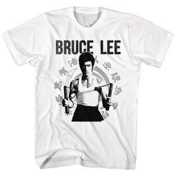Bruce Lee Shirt Numchucks White T-Shirt