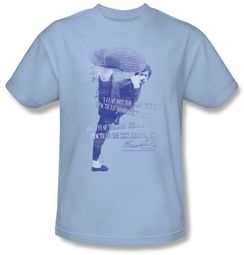 Bruce Lee T-shirt Adult 10,000 Kicks Saying Light Blue
