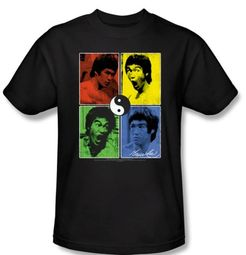 Bruce Lee T-shirt Adult Enter Color Block Black
