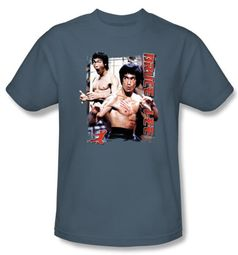 Bruce Lee T-shirt Adult Enter Slate Blue