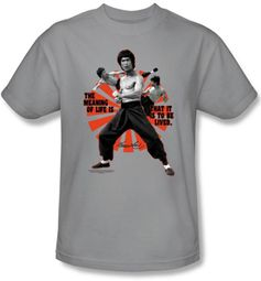 Bruce Lee T-shirt Adult Meaning Of Life Gray