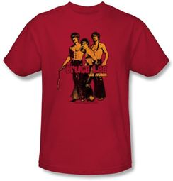 Bruce Lee T-shirt Adult Nunchucks Red