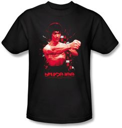 Bruce Lee T-shirt Adult Shattering Fist Black