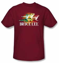 Bruce Lee T-shirt Adult Tri Color Cardinal Red