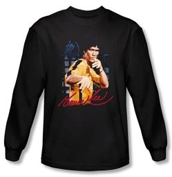 Bruce Lee T-shirt Long Sleeve Adult Yellow Jumpsuit Black
