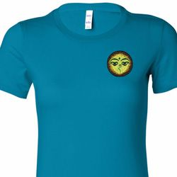 Buddha Eyes Patch Pocket Print Ladies Yoga Shirts
