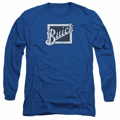 Buick Long Sleeve Shirt Distressed Emblen Royal Blue Tee T-Shirt