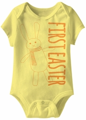 Bunny First Easter Funny Baby Romper Yellow Infant Babies Creeper