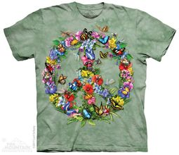 Butterflies Forming a Peace Sign T-shirt Tie Dye Adult Tee