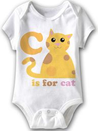 C Is For Cat Funny Baby Romper White Infant Babies Creeper