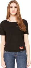 Canada Flag Patch Bottom Print Ladies Open Back Shirt