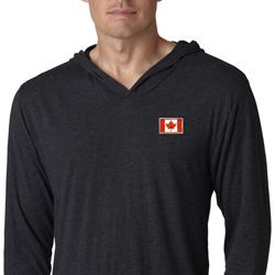 Canada Flag Patch Pocket Print Lightweight Hoodie