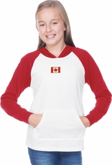 Canada Flag Patch Small Print Girls Long Sleeve Hoodie