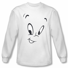 Casper The Friendly Ghost Shirt Ghost Face Long Sleeve White T-Shirt