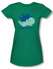 Casper The Friendly Ghost Shirt Juniors Free Spirit Kelly Green Tee