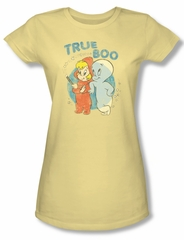 Casper The Friendly Ghost Shirt Juniors True Boo Yellow Tee T-Shirt